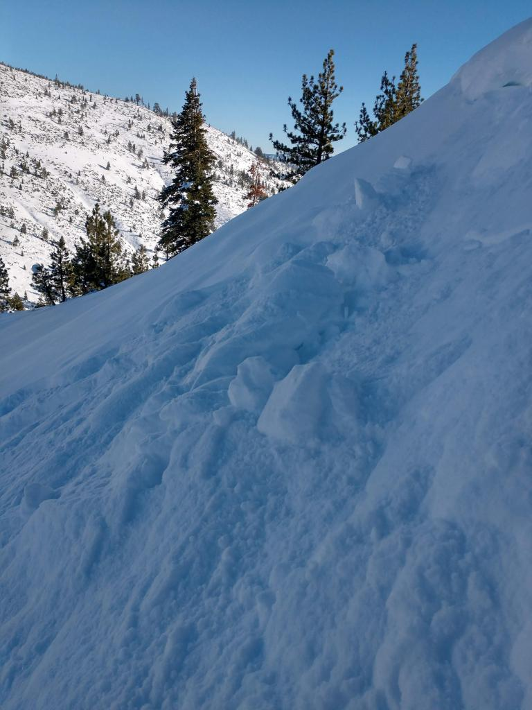 "<a href=""https://www.sierraavalanchecenter.org/avalanche-terms/cornice"" title=""A mass of snow deposited by the wind, often overhanging, and usually near a sharp terrain break such as a ridge. Cornices can break off unexpectedly and should be approached with caution."" class=""lexicon-term"">Cornice</a> cuts produced small loose dry <a href=""https://www.sierraavalanchecenter.org/avalanche-terms/avalanche"" title=""A mass of snow sliding, tumbling, or flowing down an inclined surface."" class=""lexicon-term"">avalanches</a>"