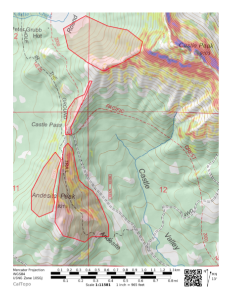 """Outlined areas show observed wide spread <a href=""""https://www.sierraavalanchecenter.org/avalanche-terms/surface-hoar"""" title=""""Featherly crystals that form on the snow surface during clear and calm conditions - essentially frozen dew. Forms a persistent weak layer once buried."""" class=""""lexicon-term"""">surface hoar</a> growth of &gt;3mm"""