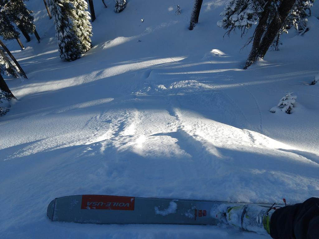 """Ski cuts <a href=""""/avalanche-terms/trigger"""" title=""""A disturbance that initiates fracture within the weak layer causing an avalanche. In 90 percent of avalanche accidents, the victim or someone in the victims party triggers the avalanche."""" class=""""lexicon-term"""">triggered</a> loose dry sluffs with the new snow sliding on the old near surface <a href=""""/avalanche-terms/faceted-snow"""" title=""""Angular snow with poor bonding created from large temperature gradients within the snowpack."""" class=""""lexicon-term"""">facets</a>."""