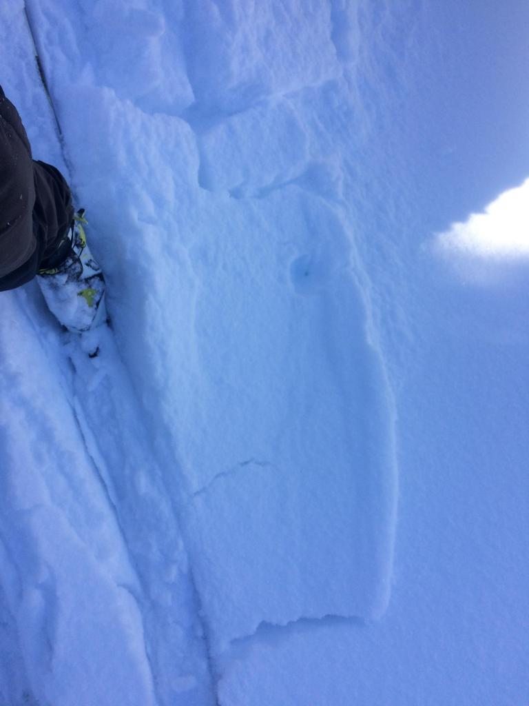 Small windslab under 4cm of soft snow cracking