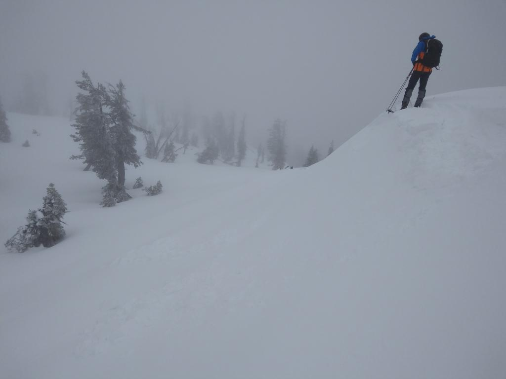 """<a href=""""/avalanche-terms/wind-loading"""" title=""""The added weight of wind drifted snow."""" class=""""lexicon-term"""">Wind loaded</a> test slopes showing unreactive <a href=""""/avalanche-terms/slab"""" title=""""A relatively cohesive snowpack layer."""" class=""""lexicon-term"""">slabs</a>."""