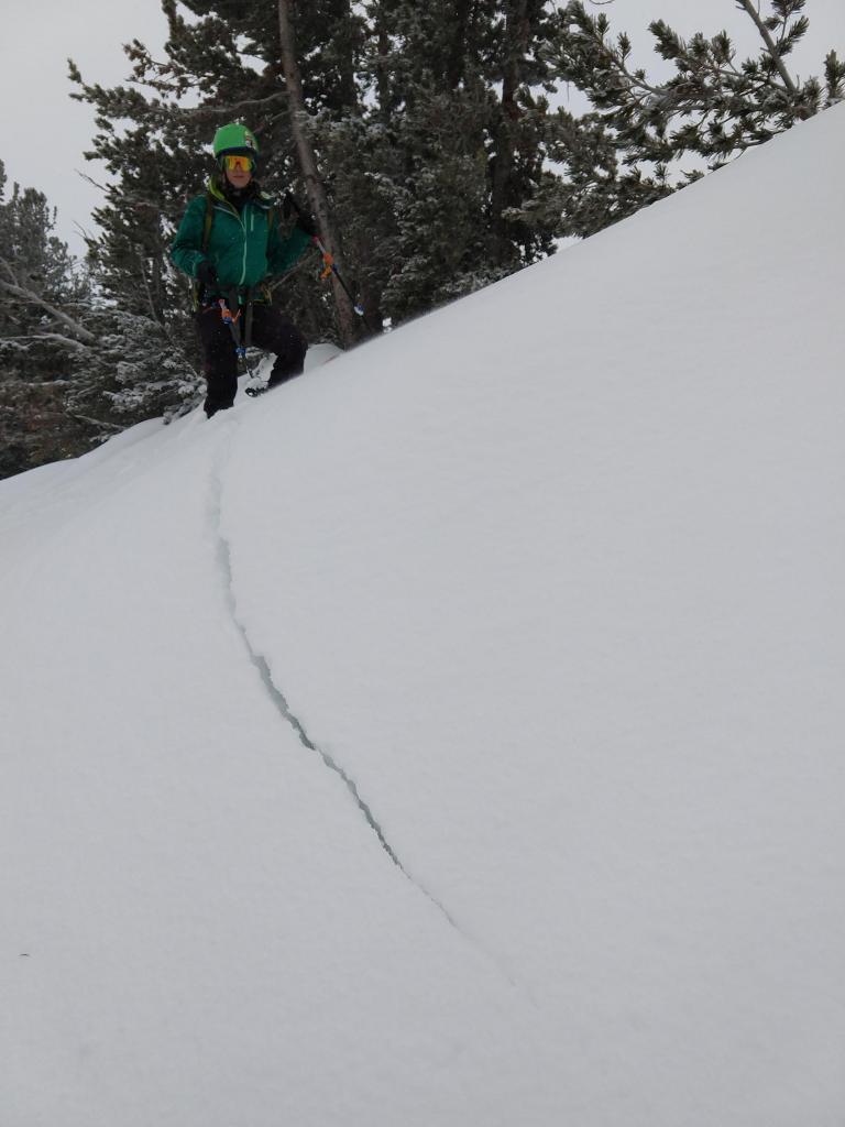 "Skier <a href=""https://www.sierraavalanchecenter.org/avalanche-terms/trigger"" title=""A disturbance that initiates fracture within the weak layer causing an avalanche. In 90 percent of avalanche accidents, the victim or someone in the victims party triggers the avalanche."" class=""lexicon-term"">triggered</a> crack on a small <a href=""https://www.sierraavalanchecenter.org/avalanche-terms/wind-loading"" title=""The added weight of wind drifted snow."" class=""lexicon-term"">wind loaded</a> test slope."