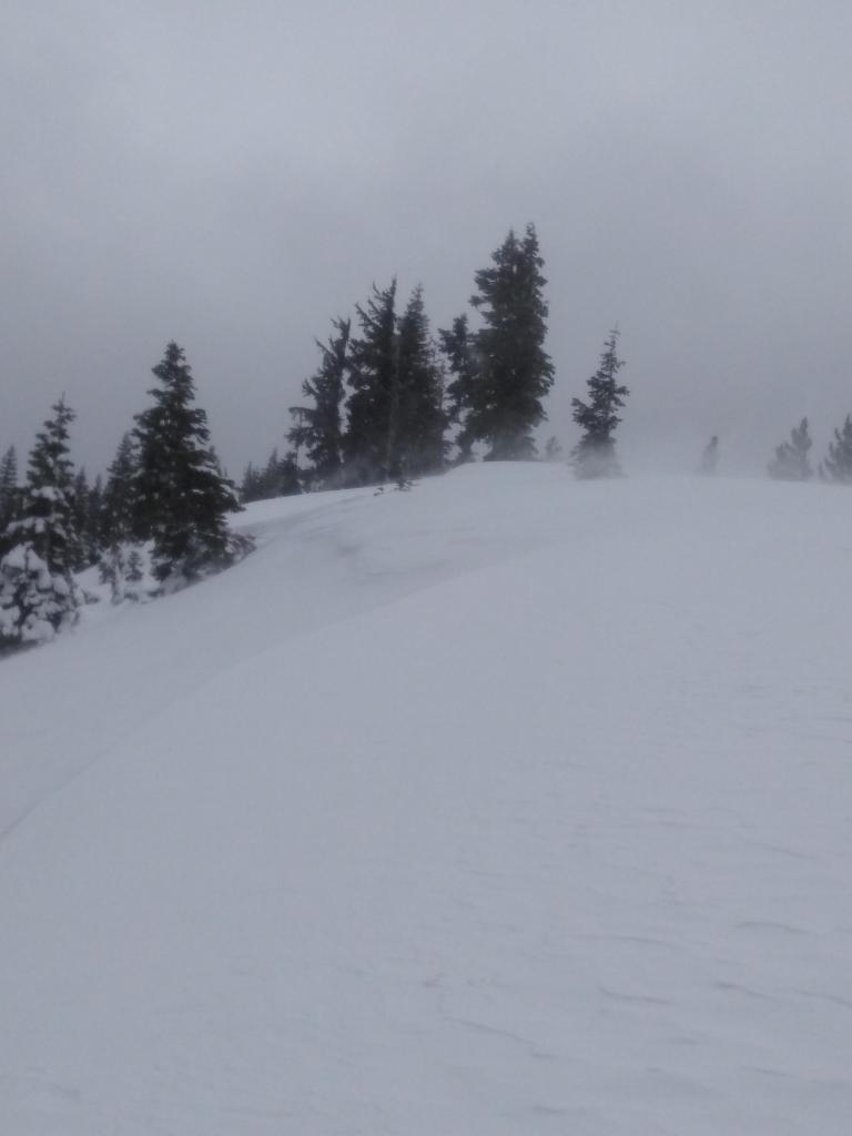 NE winds scouring cornices and drifting snow over the ridgetop.