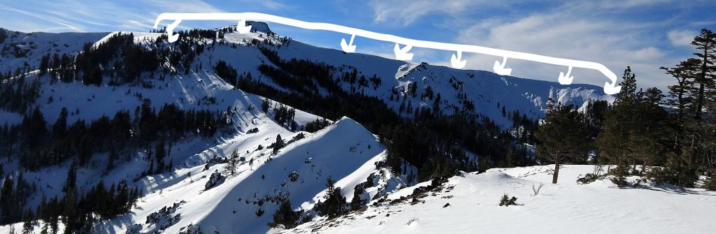 """Photo 1: Looking to the west at NE-E <a href=""""https://www.sierraavalanchecenter.org/avalanche-terms/aspect"""" title=""""The compass direction a slope faces (i.e. North, South, East, or West.)"""" class=""""lexicon-term"""">aspect</a> near and above treeline terrain along the Sierra Crest, wind scoured snow surfaces and icy crusts were obvious."""