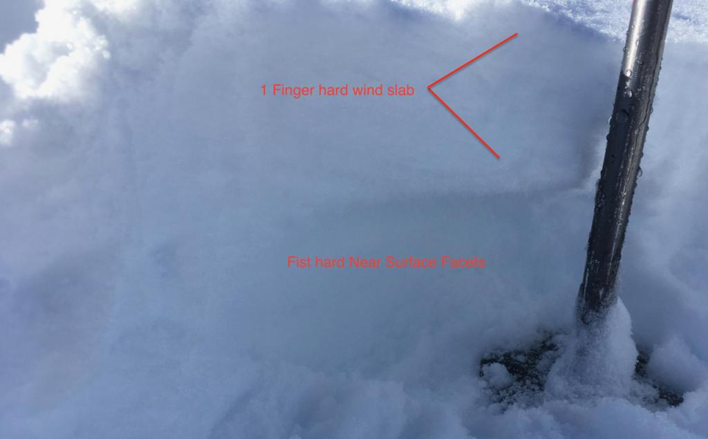 """On a ridge area, firm <a href=""""/avalanche-terms/slab"""" title=""""A relatively cohesive snowpack layer."""" class=""""lexicon-term"""">slab</a> over soft weak snow."""
