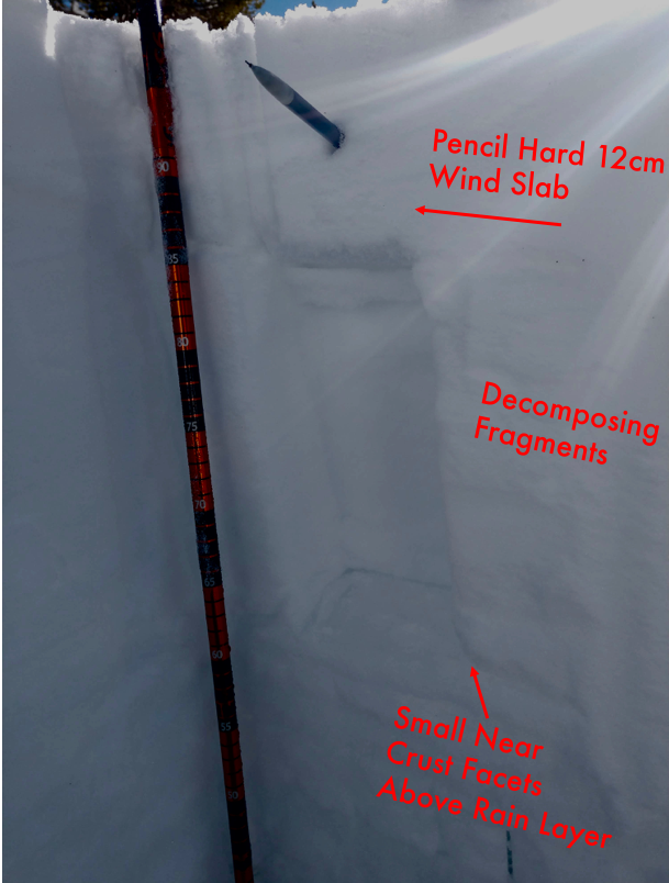 "Visual outline of the Snowpack on a West <a href=""/avalanche-terms/aspect"" title=""The compass direction a slope faces (i.e. North, South, East, or West.)"" class=""lexicon-term"">Aspect</a> Near Treeline @ 7600&#039;"