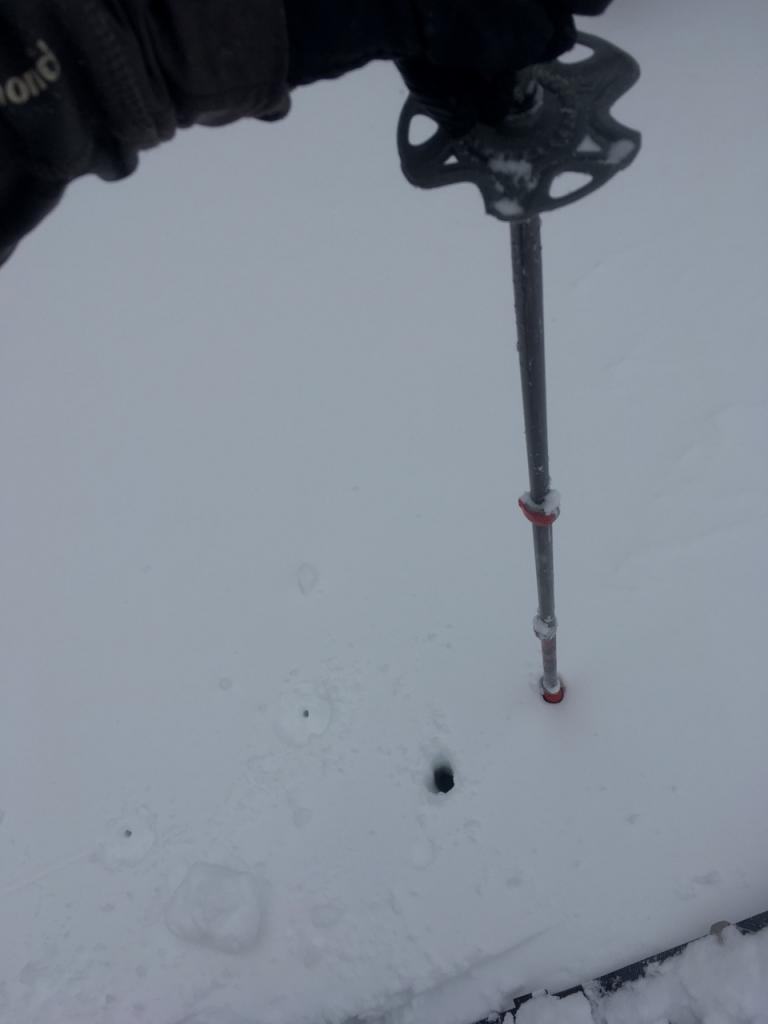 "Flipping my ski pole <a href=""https://www.sierraavalanchecenter.org/avalanche-terms/upside-down-storm"" title=""When a snowstorm deposits denser snow over less dense snow, creating a slab/weak layer combination."" class=""lexicon-term"">upside down</a>, the snow was quite resistant initially in the firm storm <a href=""https://www.sierraavalanchecenter.org/avalanche-terms/slab"" title=""A relatively cohesive snowpack layer."" class=""lexicon-term"">slab</a>."