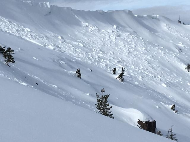 "Different angle of Mt. Judah <a href=""/avalanche-terms/avalanche"" title=""A mass of snow sliding, tumbling, or flowing down an inclined surface."" class=""lexicon-term"">avalanches</a>.  Some debris mostly covered and some looks to have occurred towards the end of the storm."