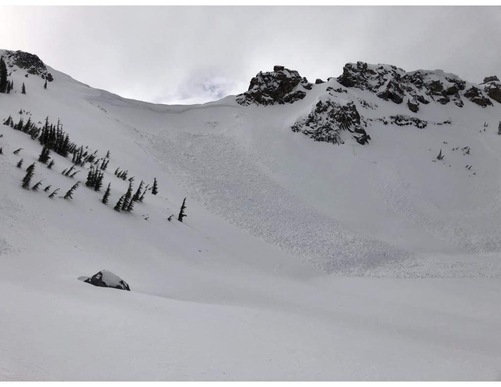 """<a href=""""/avalanche-terms/wind-slab"""" title=""""A cohesive layer of snow formed when wind deposits snow onto leeward terrain. Wind slabs are often smooth and rounded and sometimes sound hollow."""" class=""""lexicon-term"""">Wind slab</a> <a href=""""/avalanche-terms/avalanche"""" title=""""A mass of snow sliding, tumbling, or flowing down an inclined surface."""" class=""""lexicon-term"""">avalanche</a> (~48hrs old)"""
