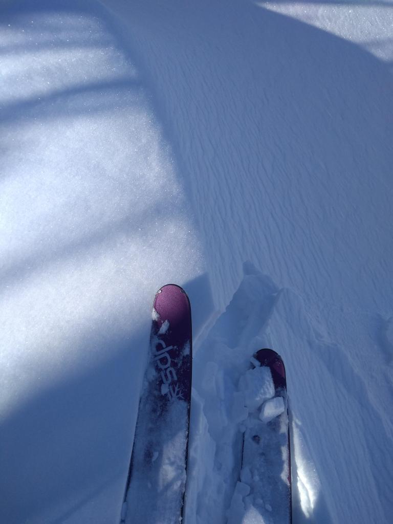 "<a href=""https://www.sierraavalanchecenter.org/avalanche-terms/wind-slab"" title=""A cohesive layer of snow formed when wind deposits snow onto leeward terrain. Wind slabs are often smooth and rounded and sometimes sound hollow."" class=""lexicon-term"">Wind slab</a> - very minor crack and the only cracking we could <a href=""https://www.sierraavalanchecenter.org/avalanche-terms/trigger"" title=""A disturbance that initiates fracture within the weak layer causing an avalanche. In 90 percent of avalanche accidents, the victim or someone in the victims party triggers the avalanche."" class=""lexicon-term"">trigger</a> on summit ridge test slopes."