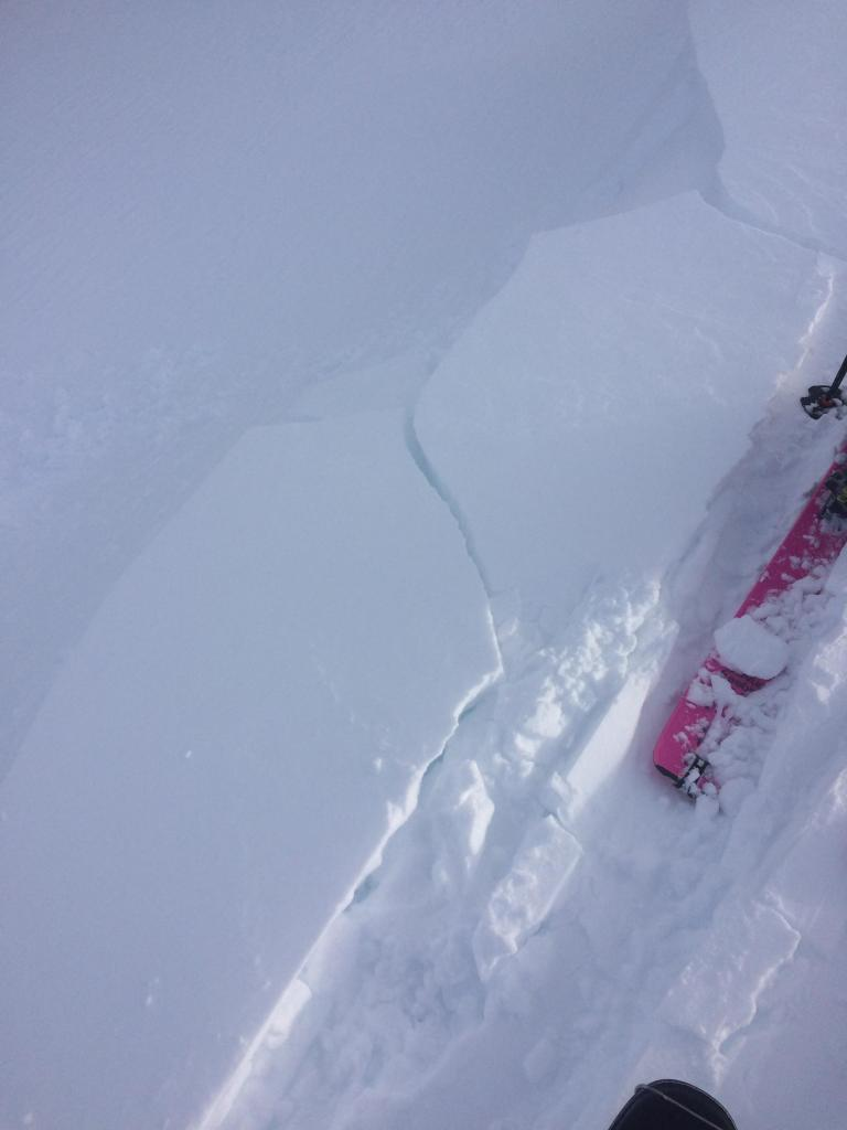 Small newly formed cornices easily breaking on the way up.
