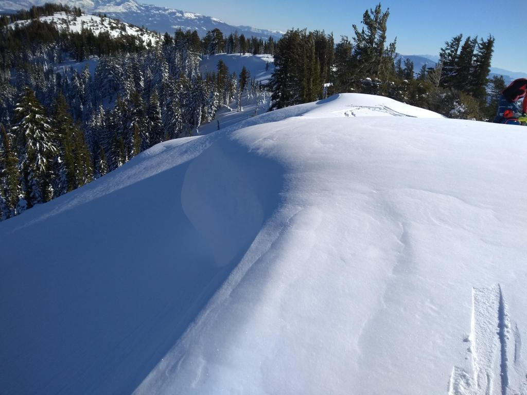 "<a href=""https://www.sierraavalanchecenter.org/avalanche-terms/cornice"" title=""A mass of snow deposited by the wind, often overhanging, and usually near a sharp terrain break such as a ridge. Cornices can break off unexpectedly and should be approached with caution."" class=""lexicon-term"">Cornice</a> we were unsuccessful in dropping."