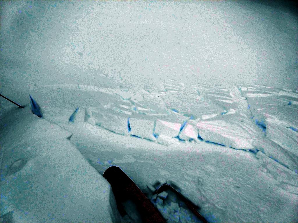 """Small failure on a wind-<a href=""""https://www.sierraavalanchecenter.org/avalanche-terms/loading"""" title=""""The addition of weight on top of a snowpack, usually from precipitation, wind drifting, or a person."""" class=""""lexicon-term"""">loaded</a> test slope that we think failed on the buried <a href=""""https://www.sierraavalanchecenter.org/avalanche-terms/surface-hoar"""" title=""""Featherly crystals that form on the snow surface during clear and calm conditions - essentially frozen dew. Forms a persistent weak layer once buried."""" class=""""lexicon-term"""">Surface Hoar</a>."""