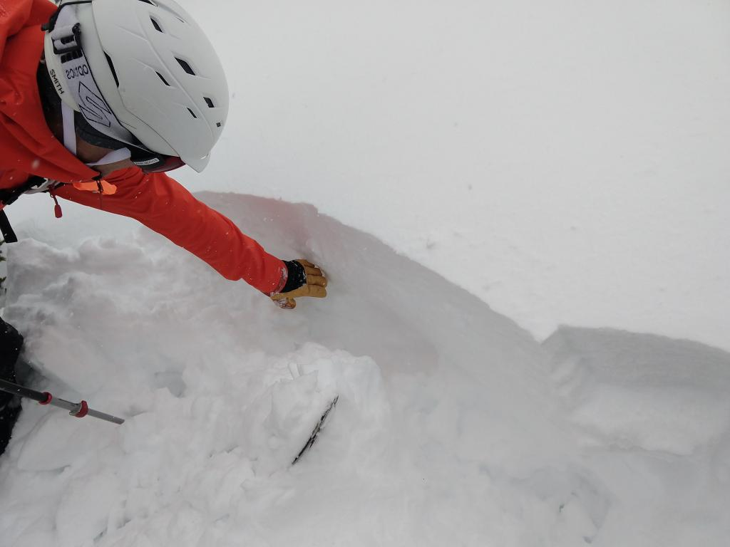 "Digging out the crack to look at the <a href=""https://www.sierraavalanchecenter.org/avalanche-terms/weak-layer"" title=""A snowpack layer with less strength than adjacent layers. Often the layer in the snowpack where an avalanche fractures."" class=""lexicon-term"">weak layer</a> of buried <a href=""https://www.sierraavalanchecenter.org/avalanche-terms/surface-hoar"" title=""Featherly crystals that form on the snow surface during clear and calm conditions - essentially frozen dew. Forms a persistent weak layer once buried."" class=""lexicon-term"">surface hoar</a> and <a href=""https://www.sierraavalanchecenter.org/avalanche-terms/snow-density"" title=""The mass of snow per unit volume, but often expressed as a percent water content. New fallen powder has a low density (3-10%), while heavy or wet snow is more dense (10-20%)."" class=""lexicon-term"">density</a> change."