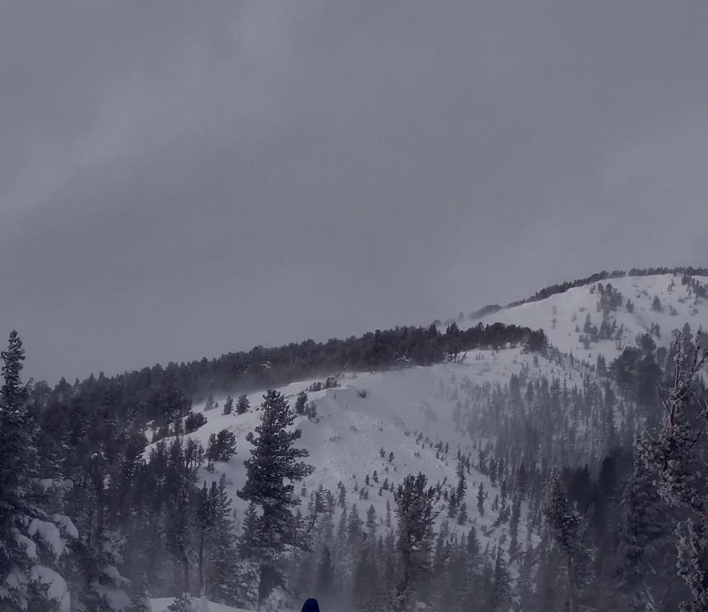 "Look closely and you can see a size 2 <a href=""https://www.sierraavalanchecenter.org/avalanche-terms/avalanche"" title=""A mass of snow sliding, tumbling, or flowing down an inclined surface."" class=""lexicon-term"">avalanche</a> below the ridge"