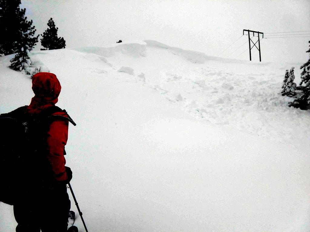 "<a href=""https://www.sierraavalanchecenter.org/avalanche-terms/cornice"" title=""A mass of snow deposited by the wind, often overhanging, and usually near a sharp terrain break such as a ridge. Cornices can break off unexpectedly and should be approached with caution."" class=""lexicon-term"">Cornice</a> <a href=""https://www.sierraavalanchecenter.org/avalanche-terms/collapse"" title=""When the fracture of a lower snow layer causes an upper layer to fall. Also called a whumpf, this is an obvious sign of instability."" class=""lexicon-term"">collapse</a> and <a href=""https://www.sierraavalanchecenter.org/avalanche-terms/wind-slab"" title=""A cohesive layer of snow formed when wind deposits snow onto leeward terrain. Wind slabs are often smooth and rounded and sometimes sound hollow."" class=""lexicon-term"">wind slab</a> <a href=""https://www.sierraavalanchecenter.org/avalanche-terms/avalanche"" title=""A mass of snow sliding, tumbling, or flowing down an inclined surface."" class=""lexicon-term"">avalanche</a>."