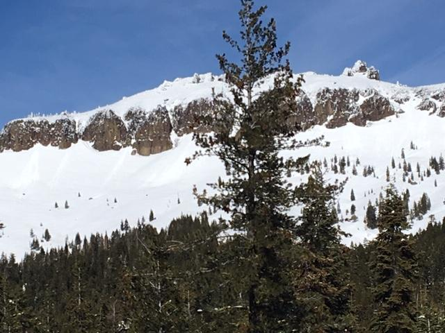 """Small loose wet <a href=""""https://www.sierraavalanchecenter.org/avalanche-terms/avalanche"""" title=""""A mass of snow sliding, tumbling, or flowing down an inclined surface."""" class=""""lexicon-term"""">avalanches</a> on south side castle peak"""