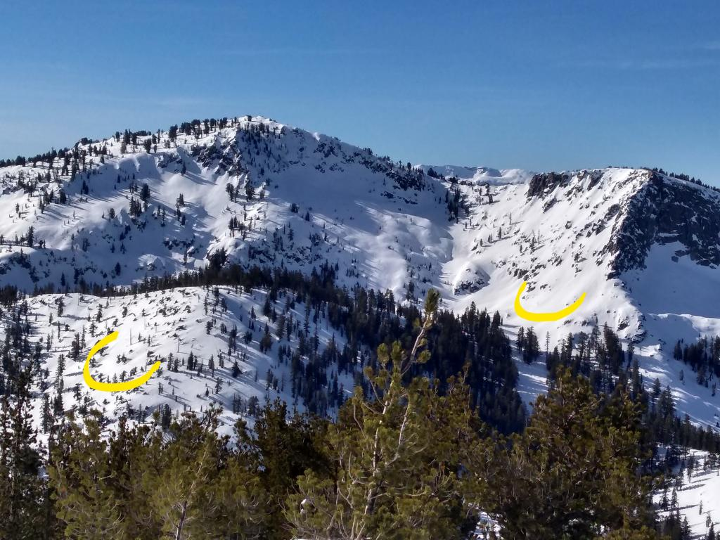 """Limited, minor previous roller ball/loose wet instability on E <a href=""""https://www.sierraavalanchecenter.org/avalanche-terms/aspect"""" title=""""The compass direction a slope faces (i.e. North, South, East, or West.)"""" class=""""lexicon-term"""">aspects</a> in Desolation Wilderness."""