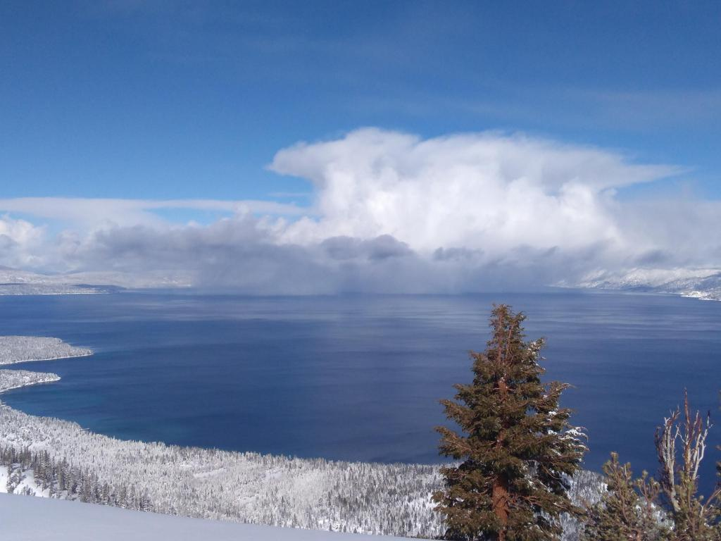 Convective cell snowing out over Lake Tahoe.