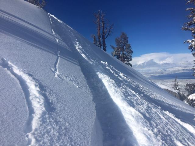 "<a href=""https://www.sierraavalanchecenter.org/avalanche-terms/ski-cut"" title=""A stability test where a skier, rider or snowmobiler rapidly crosses an avalanche starting zone to see if an avalanche initiates. Slope cuts can be dangerous and should only be performed by experienced people on small avalanche paths or test slopes."" class=""lexicon-term"">Ski cut</a> in wind pillow near summit with no <a href=""https://www.sierraavalanchecenter.org/avalanche-terms/wind-slab"" title=""A cohesive layer of snow formed when wind deposits snow onto leeward terrain. Wind slabs are often smooth and rounded and sometimes sound hollow."" class=""lexicon-term"">wind slab</a> failure."