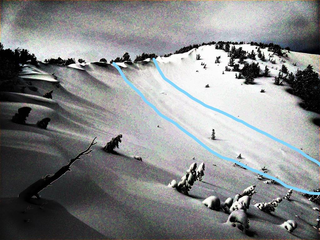 """Mostly buried <a href=""""https://www.sierraavalanchecenter.org/avalanche-terms/avalanche"""" title=""""A mass of snow sliding, tumbling, or flowing down an inclined surface."""" class=""""lexicon-term"""">avalanche</a> on Tamarack Peak"""