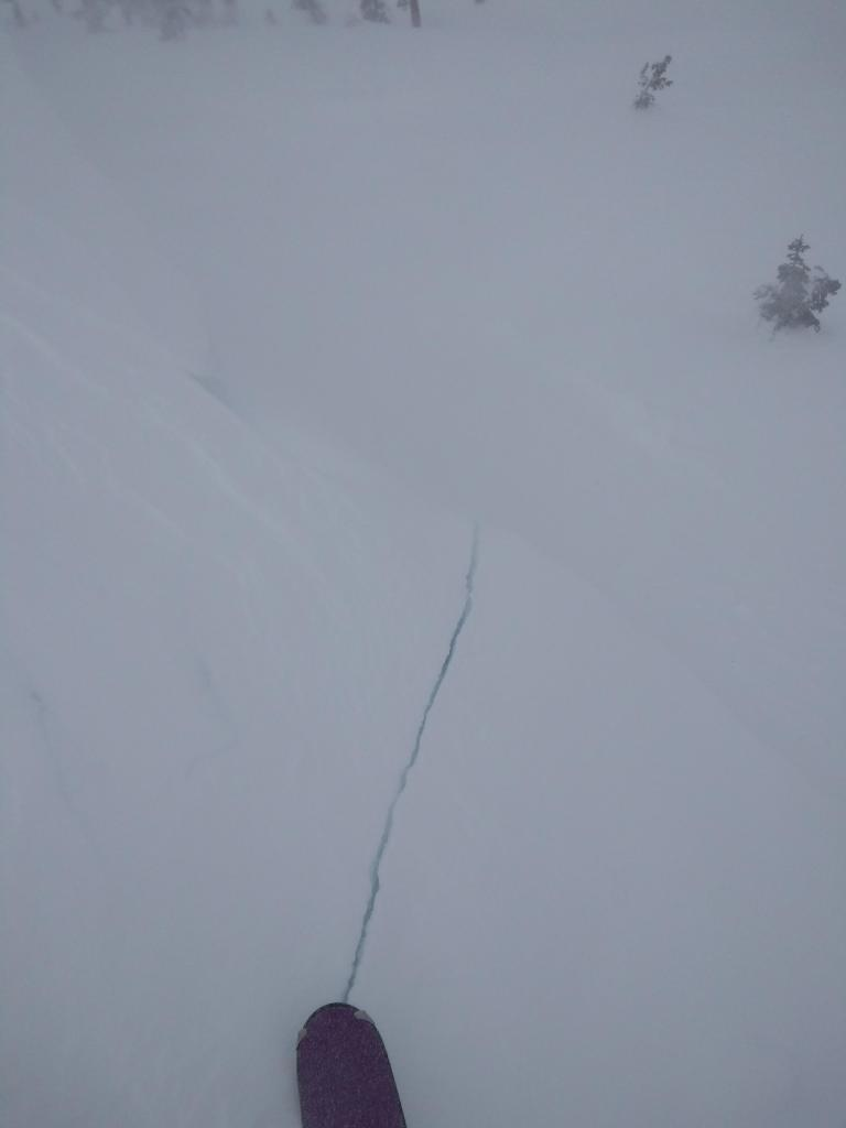 """Skier <a href=""""https://www.sierraavalanchecenter.org/avalanche-terms/trigger"""" title=""""A disturbance that initiates fracture within the weak layer causing an avalanche. In 90 percent of avalanche accidents, the victim or someone in the victims party triggers the avalanche."""" class=""""lexicon-term"""">triggered</a> shooting crack 20 ft long and 1 ft deep in <a href=""""https://www.sierraavalanchecenter.org/avalanche-terms/wind-slab"""" title=""""A cohesive layer of snow formed when wind deposits snow onto leeward terrain. Wind slabs are often smooth and rounded and sometimes sound hollow."""" class=""""lexicon-term"""">wind slab</a> on test slope."""