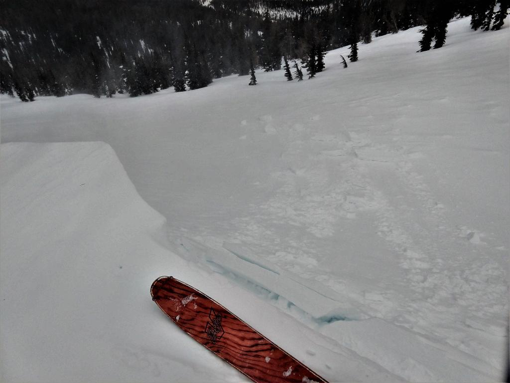 "Skier <a href=""https://www.sierraavalanchecenter.org/avalanche-terms/trigger"" title=""A disturbance that initiates fracture within the weak layer causing an avalanche. In 90 percent of avalanche accidents, the victim or someone in the victims party triggers the avalanche."" class=""lexicon-term"">triggered</a> <a href=""https://www.sierraavalanchecenter.org/avalanche-terms/cornice"" title=""A mass of snow deposited by the wind, often overhanging, and usually near a sharp terrain break such as a ridge. Cornices can break off unexpectedly and should be approached with caution."" class=""lexicon-term"">cornice</a> failure on a a test slope did not produce signs of instability in the <a href=""https://www.sierraavalanchecenter.org/avalanche-terms/wind-slab"" title=""A cohesive layer of snow formed when wind deposits snow onto leeward terrain. Wind slabs are often smooth and rounded and sometimes sound hollow."" class=""lexicon-term"">wind slab</a> on the test slope."