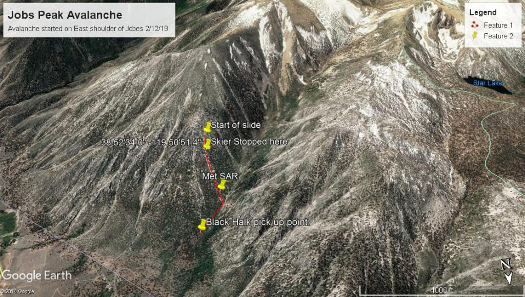 "Google Earth Image of <a href=""/avalanche-terms/avalanche"" title=""A mass of snow sliding, tumbling, or flowing down an inclined surface."" class=""lexicon-term"">avalanche</a> and rescue"