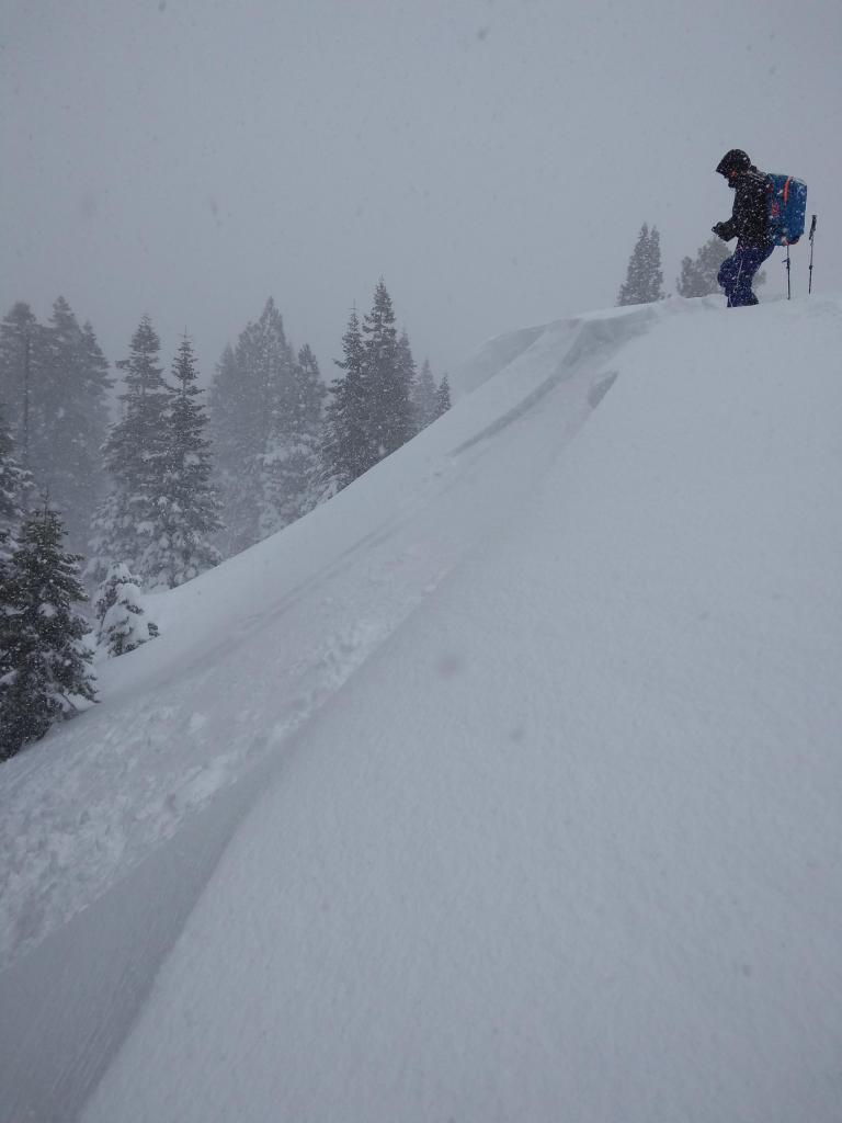 "Small <a href=""https://www.sierraavalanchecenter.org/avalanche-terms/wind-slab"" title=""A cohesive layer of snow formed when wind deposits snow onto leeward terrain. Wind slabs are often smooth and rounded and sometimes sound hollow."" class=""lexicon-term"">wind slab</a> <a href=""https://www.sierraavalanchecenter.org/avalanche-terms/avalanche"" title=""A mass of snow sliding, tumbling, or flowing down an inclined surface."" class=""lexicon-term"">avalanche</a> intentionally <a href=""https://www.sierraavalanchecenter.org/avalanche-terms/trigger"" title=""A disturbance that initiates fracture within the weak layer causing an avalanche. In 90 percent of avalanche accidents, the victim or someone in the victims party triggers the avalanche."" class=""lexicon-term"">triggered</a>."