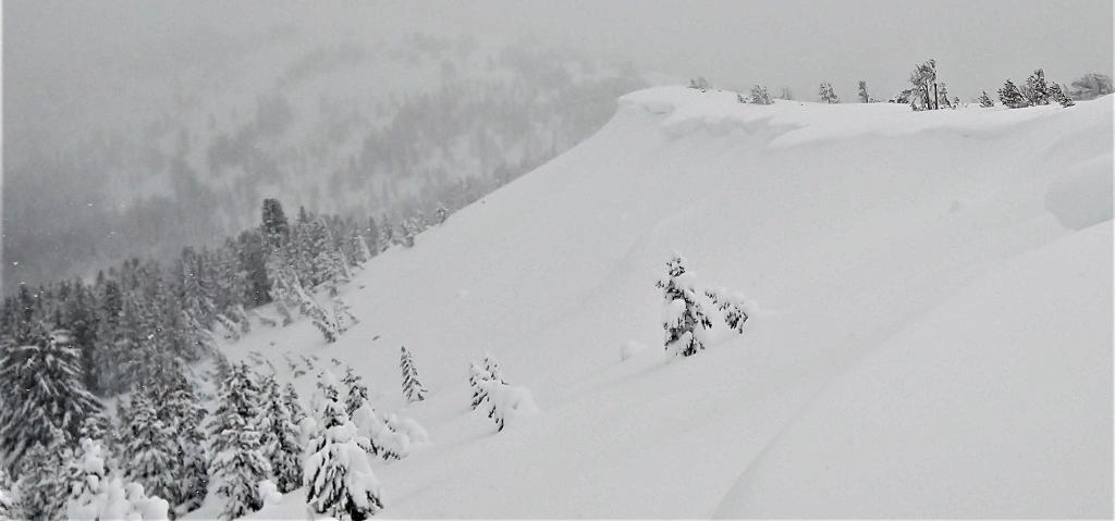 """Large cornices looming over heavily wind-<a href=""""https://www.sierraavalanchecenter.org/avalanche-terms/loading"""" title=""""The addition of weight on top of a snowpack, usually from precipitation, wind drifting, or a person."""" class=""""lexicon-term"""">loaded</a> slopes. Some mostly buried debris is barely visible on the slope below the largest <a href=""""https://www.sierraavalanchecenter.org/avalanche-terms/cornice"""" title=""""A mass of snow deposited by the wind, often overhanging, and usually near a sharp terrain break such as a ridge. Cornices can break off unexpectedly and should be approached with caution."""" class=""""lexicon-term"""">cornice</a>."""