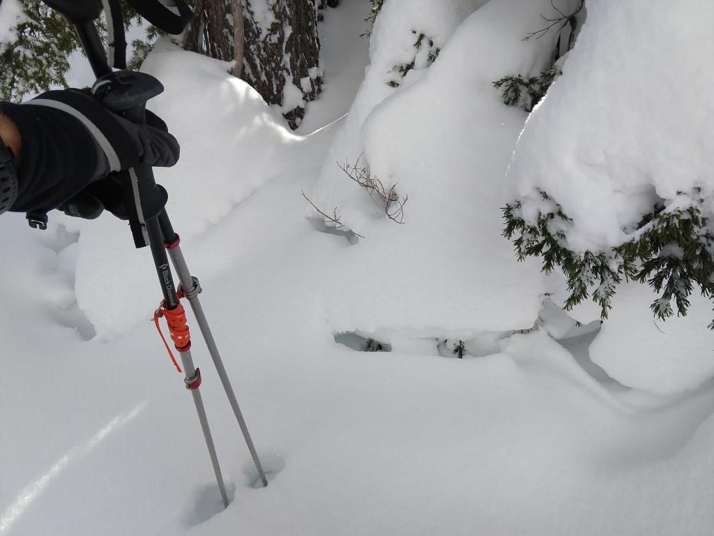 """<a href=""""https://www.sierraavalanchecenter.org/avalanche-terms/settlement"""" title=""""The slow, deformation and densification of snow under the influence of gravity. Not to be confused with collasping"""" class=""""lexicon-term"""">Settlement</a> cracks indicating consolidation in the recent snow."""