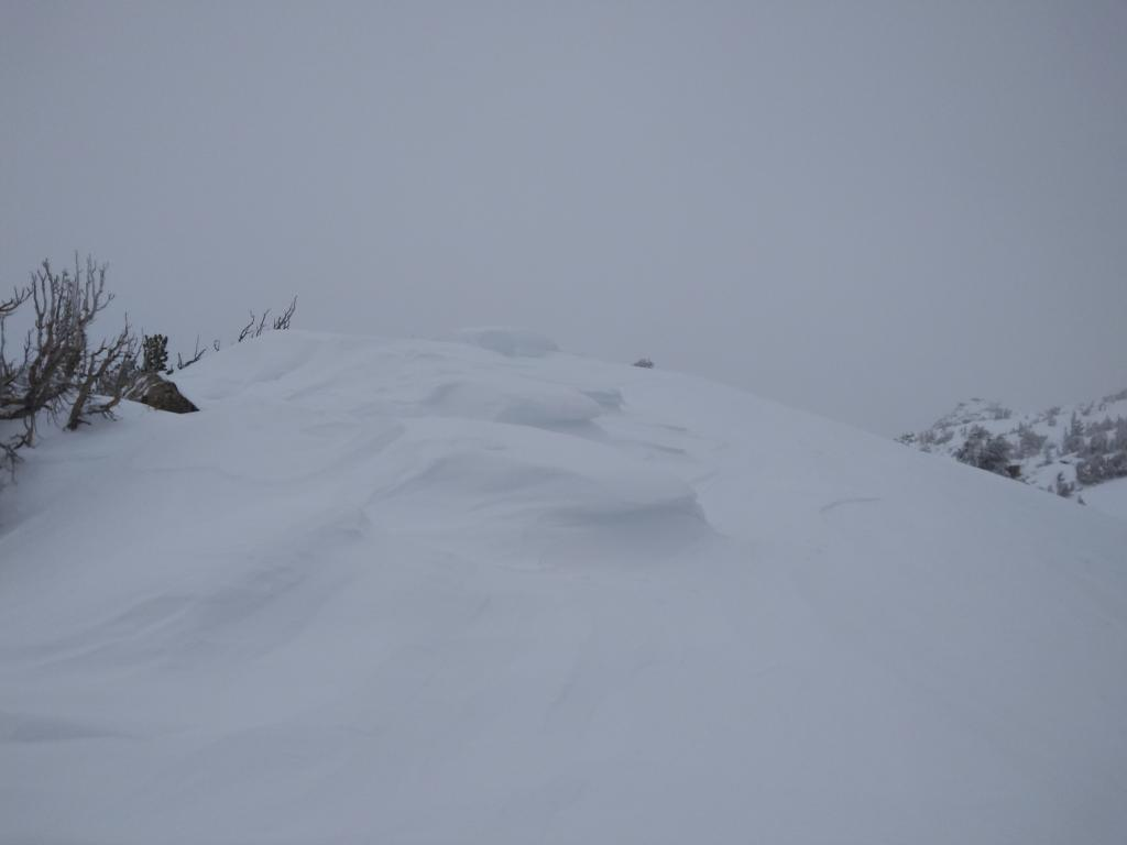 """Old <a href=""""https://www.sierraavalanchecenter.org/avalanche-terms/cornice"""" title=""""A mass of snow deposited by the wind, often overhanging, and usually near a sharp terrain break such as a ridge. Cornices can break off unexpectedly and should be approached with caution."""" class=""""lexicon-term"""">cornice</a>/wind pillow scoured back by NE winds on top of N-S oriented ridgetop."""