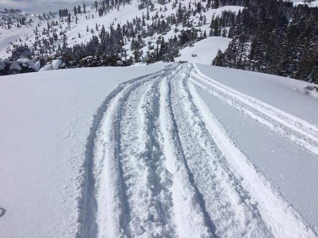 Along ridges above 8000', up to 12'' of light unconsolidated snow exists for wind transport.