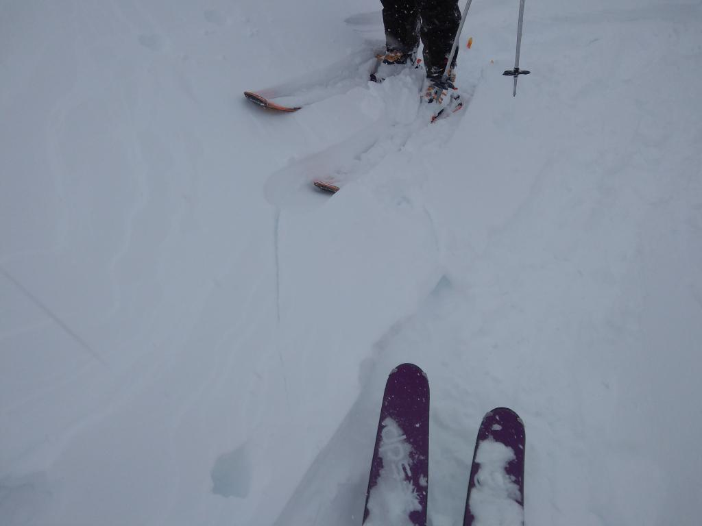 """This is the maximum amount of cracking we observed today in areas of <a href=""""/avalanche-terms/wind-slab"""" title=""""A cohesive layer of snow formed when wind deposits snow onto leeward terrain. Wind slabs are often smooth and rounded and sometimes sound hollow."""" class=""""lexicon-term"""">wind slab</a>."""