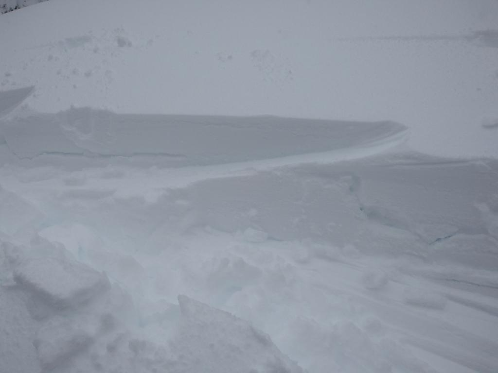 """Cracking within the new <a href=""""https://www.sierraavalanchecenter.org/avalanche-terms/upside-down-storm"""" title=""""When a snowstorm deposits denser snow over less dense snow, creating a slab/weak layer combination."""" class=""""lexicon-term"""">upside down storm</a> snow."""