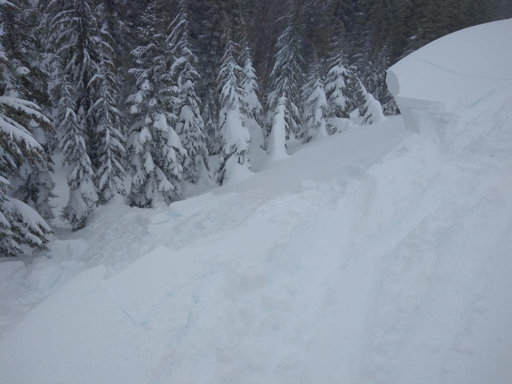 Large reactive cornices along with active blowing snow.