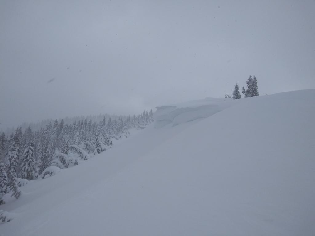 One of many large cornices in this area.