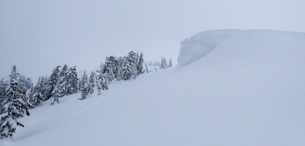 Large cornices existed along the summit ridgeline