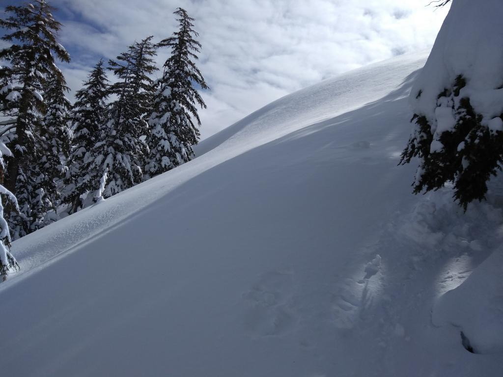 """<a href=""""/avalanche-terms/wind-slab"""" title=""""A cohesive layer of snow formed when wind deposits snow onto leeward terrain. Wind slabs are often smooth and rounded and sometimes sound hollow."""" class=""""lexicon-term"""">Wind slab</a> on NE <a href=""""/avalanche-terms/aspect"""" title=""""The compass direction a slope faces (i.e. North, South, East, or West.)"""" class=""""lexicon-term"""">aspect</a> that we carefully avoided while ascending to the east ridge."""