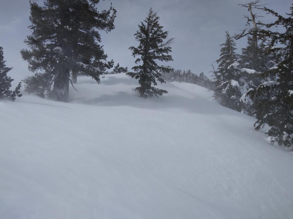 """Blowing snow on east ridge, transporting left to right onto N <a href=""""https://www.sierraavalanchecenter.org/avalanche-terms/aspect"""" title=""""The compass direction a slope faces (i.e. North, South, East, or West.)"""" class=""""lexicon-term"""">aspect</a> terrain."""