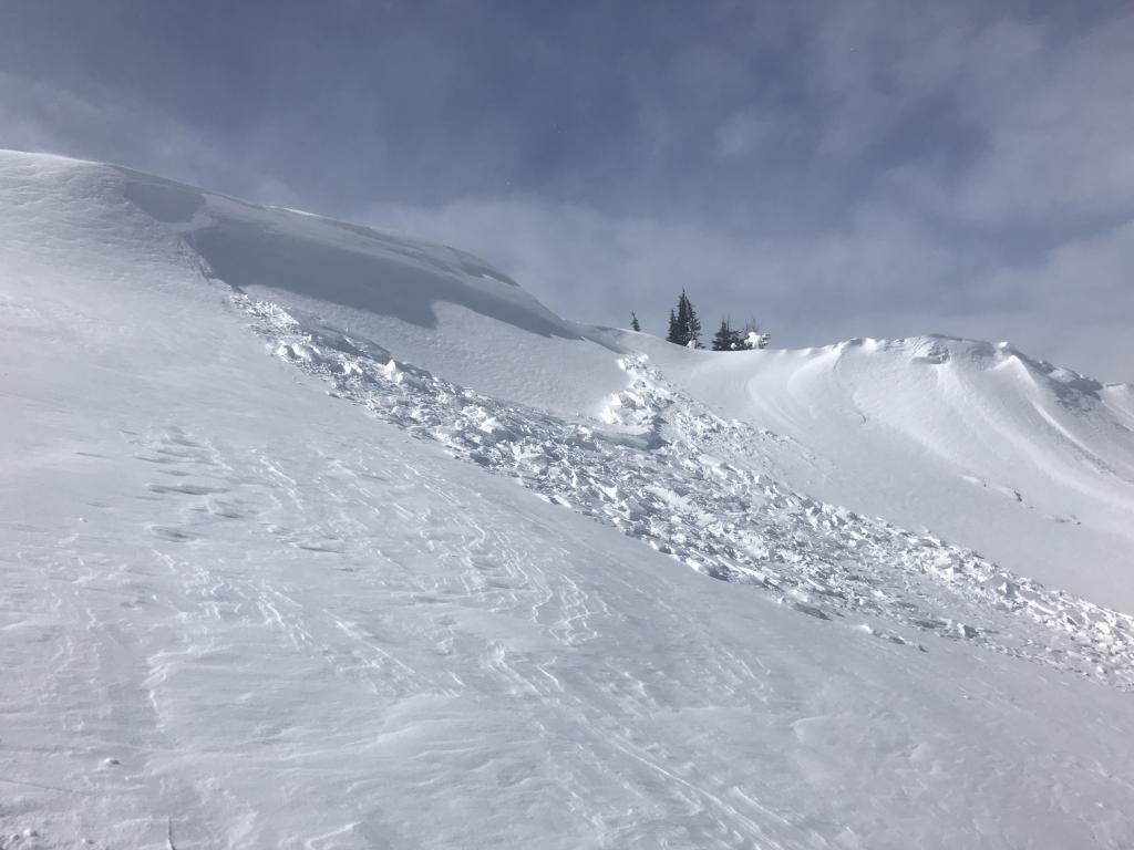 "<a href=""https://www.sierraavalanchecenter.org/avalanche-terms/wind-slab"" title=""A cohesive layer of snow formed when wind deposits snow onto leeward terrain. Wind slabs are often smooth and rounded and sometimes sound hollow."" class=""lexicon-term"">Wind slab</a> remote <a href=""https://www.sierraavalanchecenter.org/avalanche-terms/trigger"" title=""A disturbance that initiates fracture within the weak layer causing an avalanche. In 90 percent of avalanche accidents, the victim or someone in the victims party triggers the avalanche."" class=""lexicon-term"">triggered</a> or natural at ridgeline"