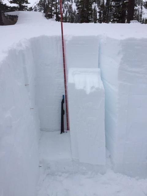 """CT11 &amp; CT18 SP at 95 down on <a href=""""https://www.sierraavalanchecenter.org/avalanche-terms/graupel"""" title=""""Heavily rimed new snow, often shaped like little Styrofoam balls."""" class=""""lexicon-term"""">Graupel</a> just above the Feb 14 <a href=""""https://www.sierraavalanchecenter.org/avalanche-terms/rain-crust"""" title=""""A clear layer of ice formed when rain falls on the snow surface then freezes."""" class=""""lexicon-term"""">rain crust</a>."""