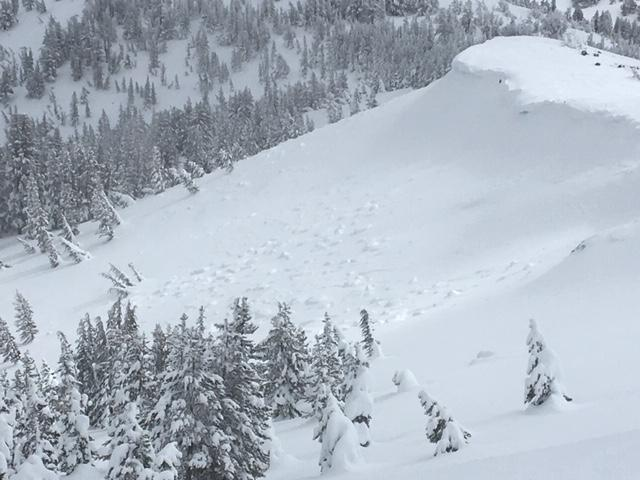 "<a href=""https://www.sierraavalanchecenter.org/avalanche-terms/cornice"" title=""A mass of snow deposited by the wind, often overhanging, and usually near a sharp terrain break such as a ridge. Cornices can break off unexpectedly and should be approached with caution."" class=""lexicon-term"">Cornice</a> <a href=""https://www.sierraavalanchecenter.org/avalanche-terms/collapse"" title=""When the fracture of a lower snow layer causes an upper layer to fall. Also called a whumpf, this is an obvious sign of instability."" class=""lexicon-term"">collapses</a> partially covered by additional new snow."