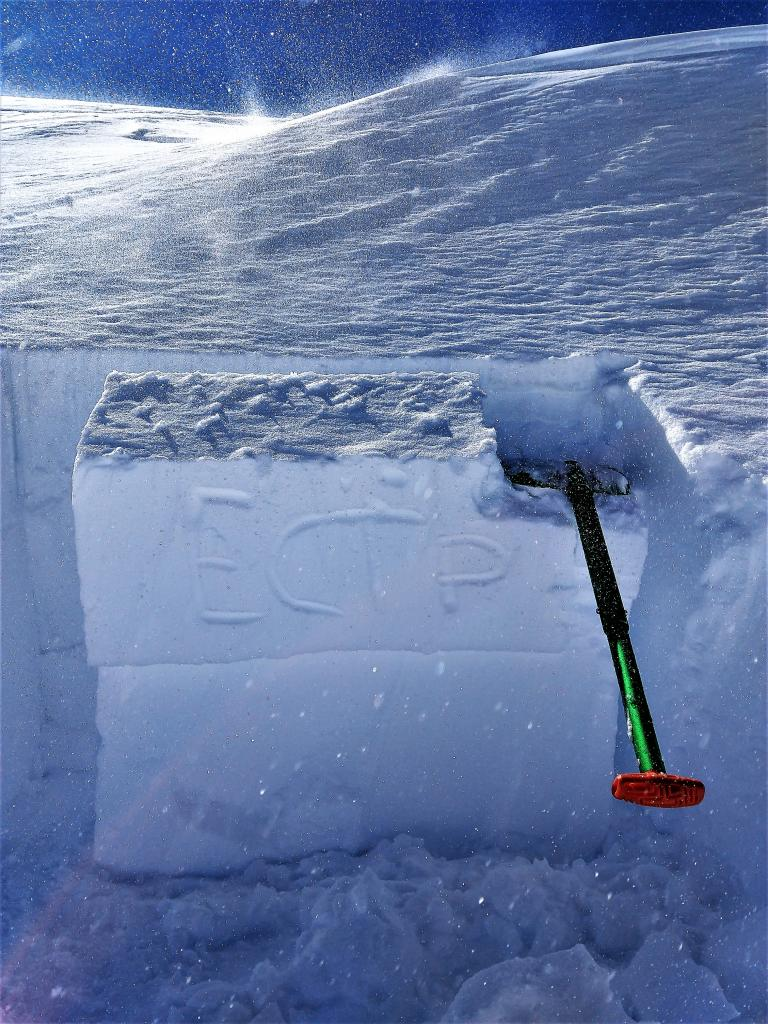 """ECTP 17 on a small wind-<a href=""""https://www.sierraavalanchecenter.org/avalanche-terms/loading"""" title=""""The addition of weight on top of a snowpack, usually from precipitation, wind drifting, or a person."""" class=""""lexicon-term"""">loaded</a> test slope."""