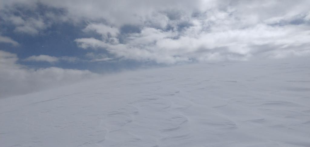 Blowing snow along the summit ridgeline of Mt. Judah