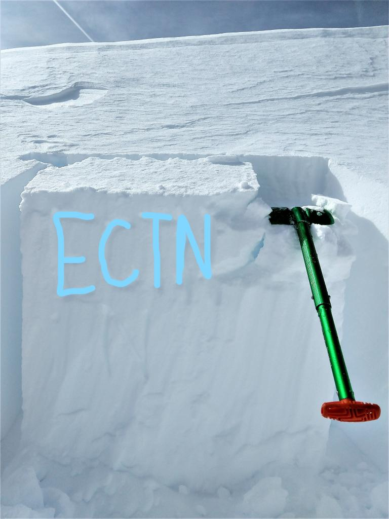 "ECTN on a test slope wind-<a href=""https://www.sierraavalanchecenter.org/avalanche-terms/loading"" title=""The addition of weight on top of a snowpack, usually from precipitation, wind drifting, or a person."" class=""lexicon-term"">loaded</a> by SW winds."