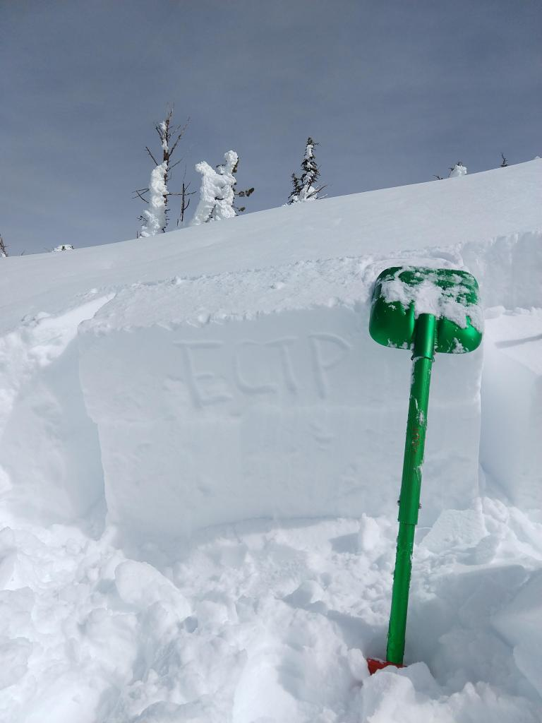 "ECTP on a test slope wind-<a href=""https://www.sierraavalanchecenter.org/avalanche-terms/loading"" title=""The addition of weight on top of a snowpack, usually from precipitation, wind drifting, or a person."" class=""lexicon-term"">loaded</a> by the NE winds."