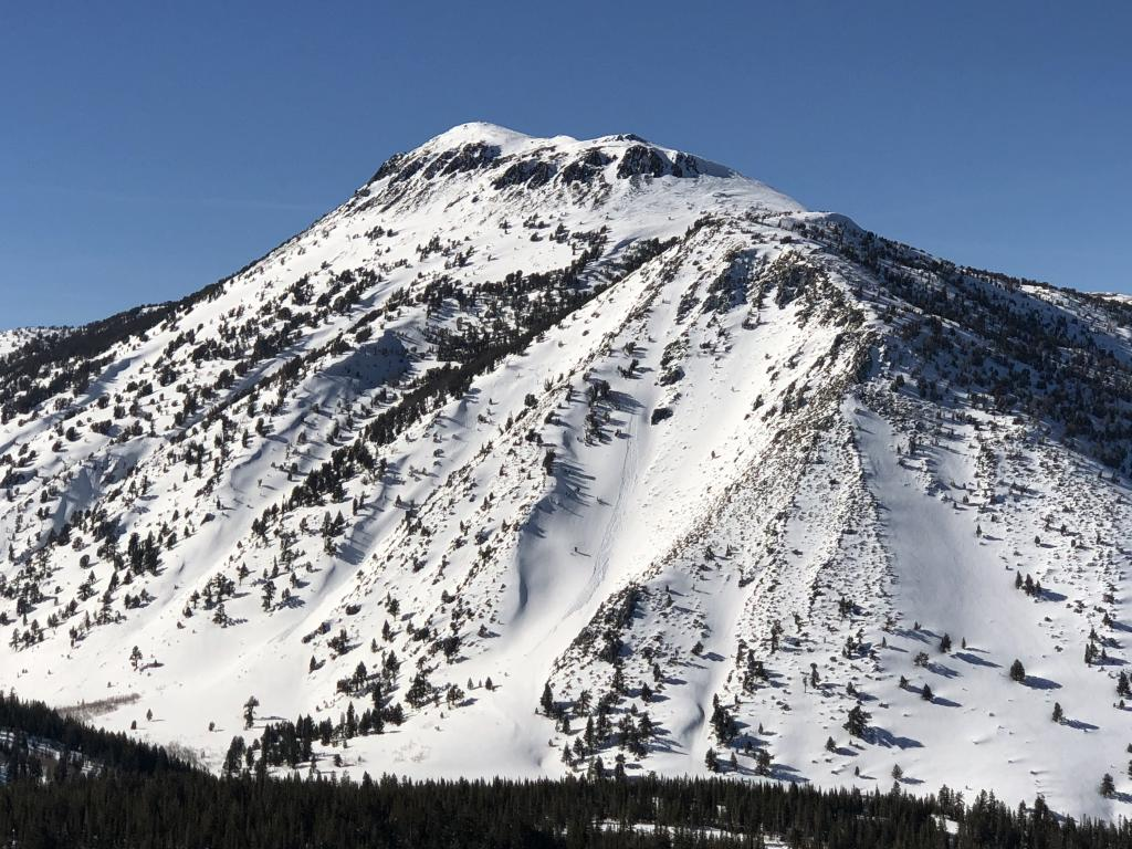 """S and SE <a href=""""https://www.sierraavalanchecenter.org/avalanche-terms/aspect"""" title=""""The compass direction a slope faces (i.e. North, South, East, or West.)"""" class=""""lexicon-term"""">aspects</a> on Mt. Rose proper as seen from <a href=""""https://www.sierraavalanchecenter.org/avalanche-terms/avalanche"""" title=""""A mass of snow sliding, tumbling, or flowing down an inclined surface."""" class=""""lexicon-term"""">Slide</a> Mtn."""