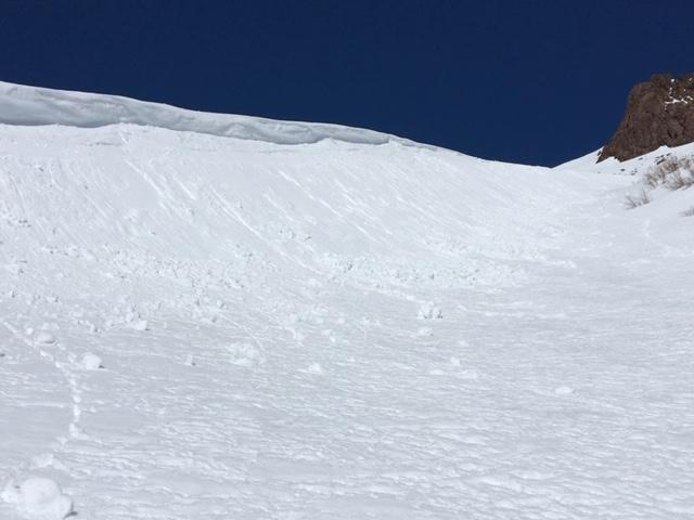"Small loose wet <a href=""/avalanche-terms/avalanche"" title=""A mass of snow sliding, tumbling, or flowing down an inclined surface."" class=""lexicon-term"">avalanches</a> on gully feature just below 9000&#039; at noon."