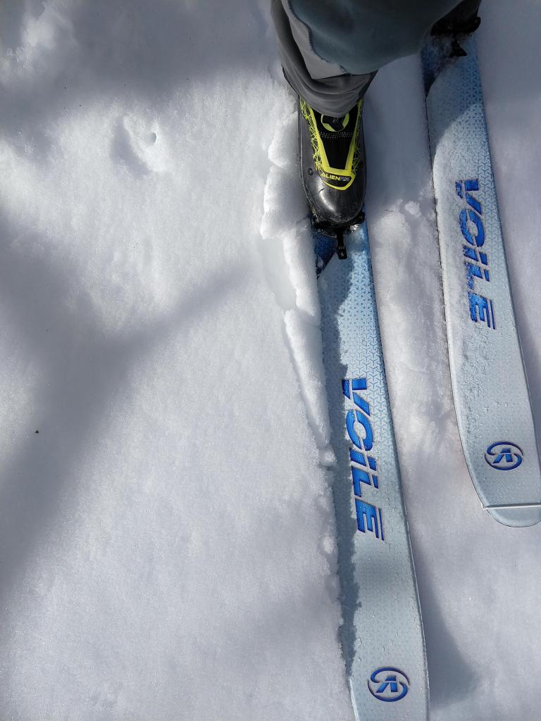 Breakable crust on a N facing slope at 9000 ft.